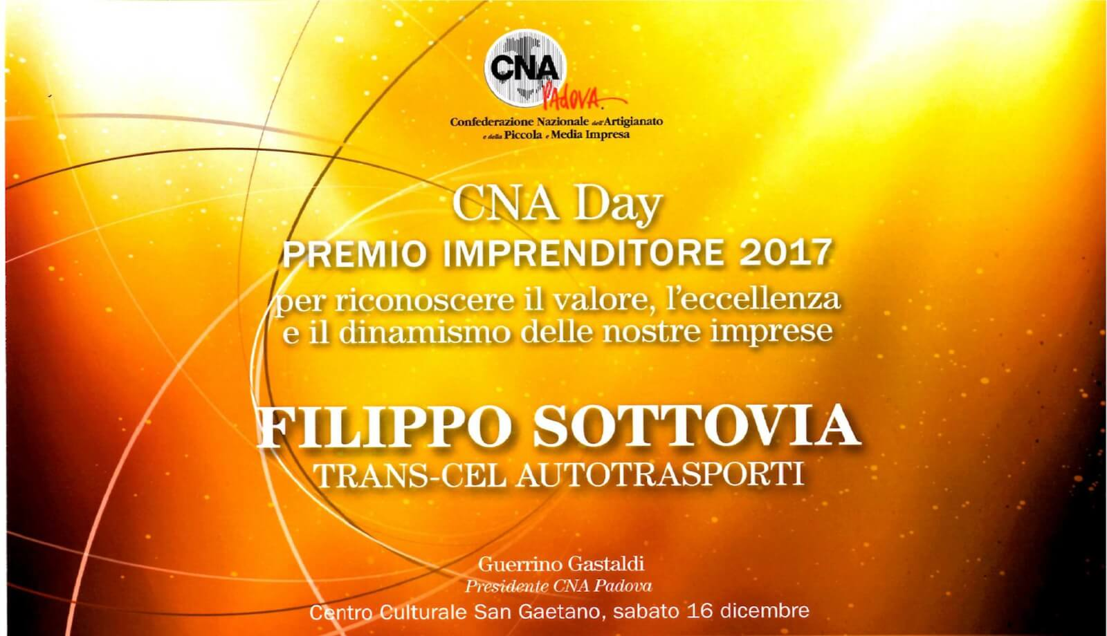 CNA Day – Enterpreneurs awards 2017 to Filippo Sottovia